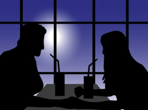 couple on date in silhouette
